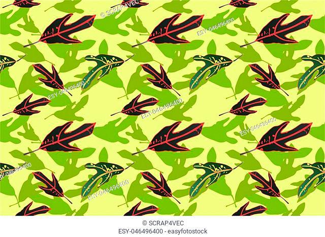 real green leaf pattern background illustration with light green backdrop for print media
