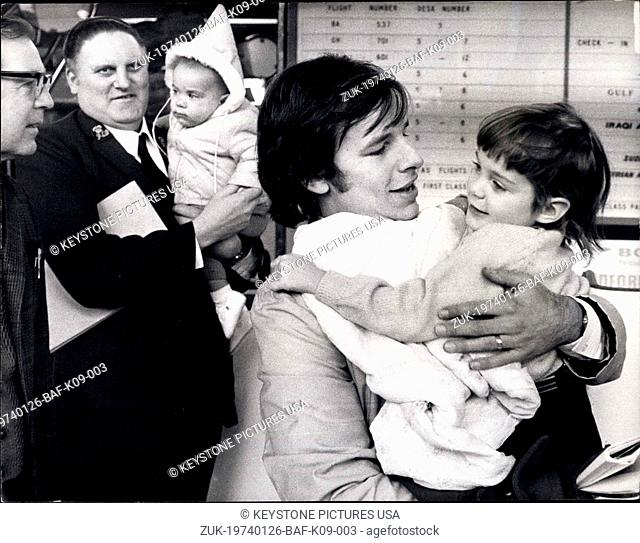 Jan. 26, 1974 - Tug -of -Loves Children Go back to America. Mrs. Sava Petty, 35, Yugoslav - born estranged wife of an American businessman