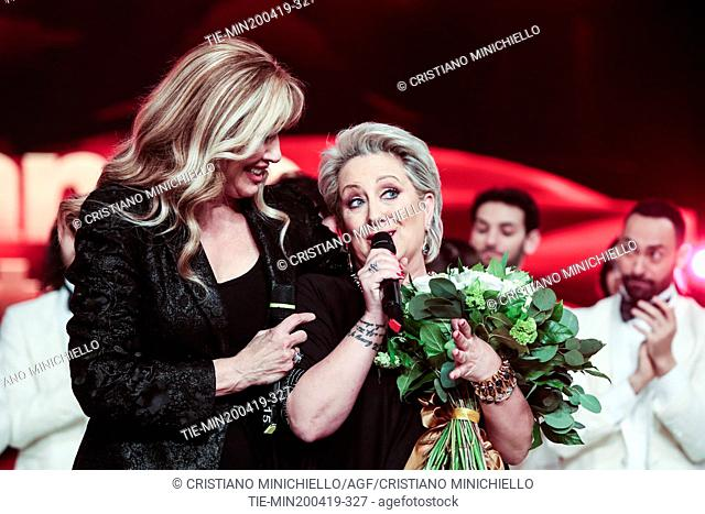 Milly Carlucci, Carolyn Smith at the tv show Ballando con le stelle (Dancing with the stars) Rome, ITALY-20-04-2019