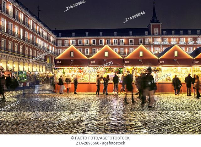 Christmas Market in Plaza Mayor at Christmastime. Madrid. Spain