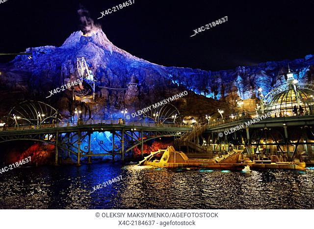 Tokyo Disneysea theme park, Mysterious Island colorful nighttime scenery. Japan