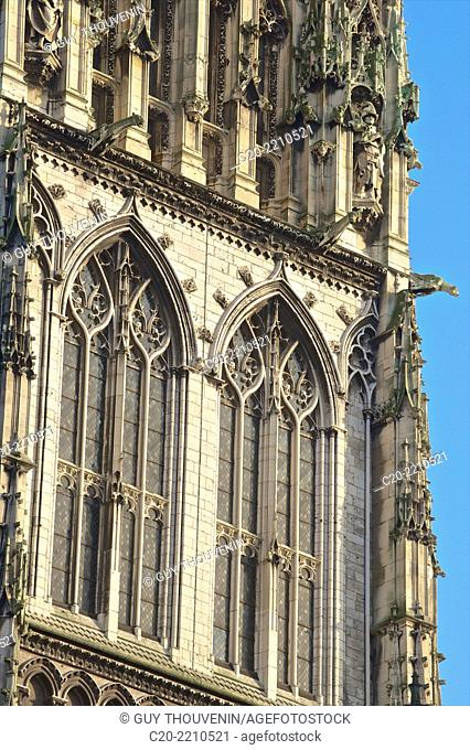 Central lantern tower, ( detail )Cathedral Notre Dame (12th c. ), exterior, Rouen , upper Normandy, 76000, France