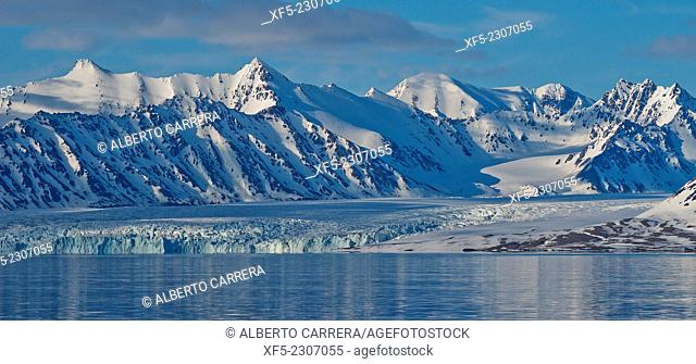 Glacier and Snowcapped Mountains, Oscar II Land, Arctic, Spitsbergen, Svalbard, Norway, Europe