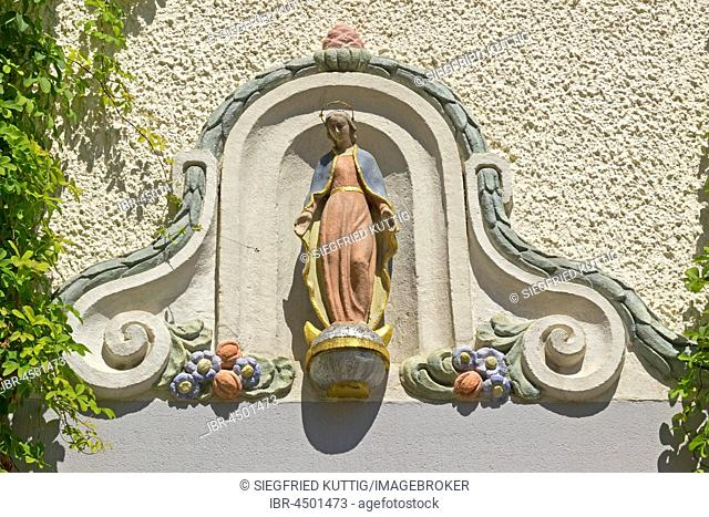 Madonna, Schlossplatz, Oberstadt, Meersburg, Lake Constance, Baden-Württemberg, Germany