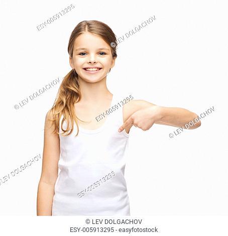 shirt design concept - smiling teenage girl in blank white shirt