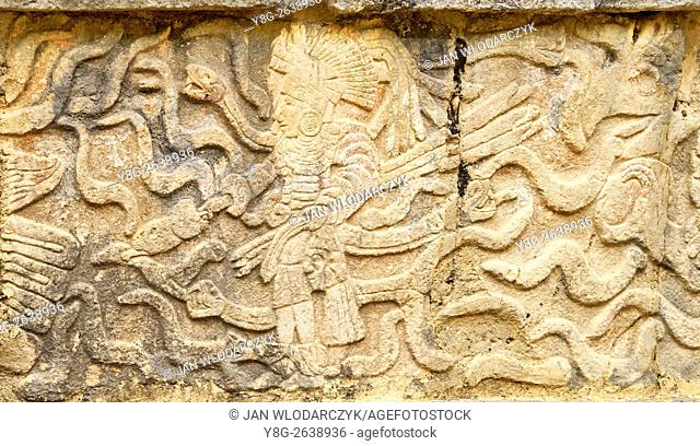 Platform of the Eagles and Jaguars, Carved Reliefs, Chichen Itza, Yucatan, Mexico