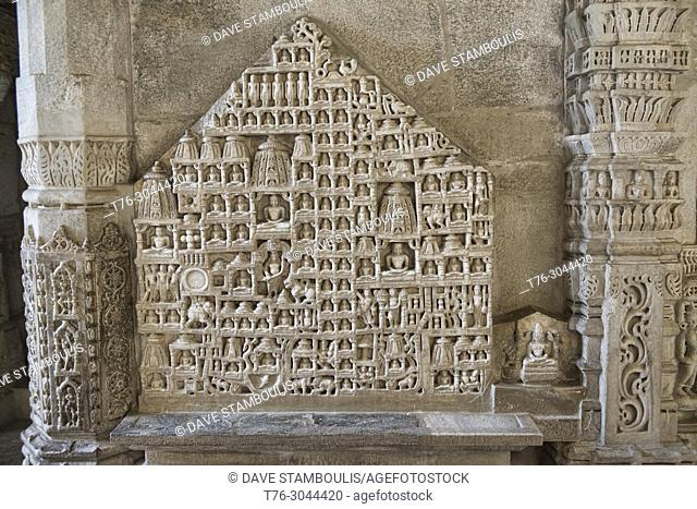 Intricately carved figures at the dazzling marble Ranakpur Jain Temple, Rajasthan, India
