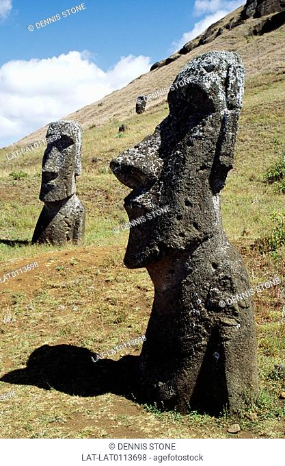 There are collections of giant stone heads or Moai,Megalithic man made tuff stone blocks carved into heads dotted about the slopes of the volcanic islands