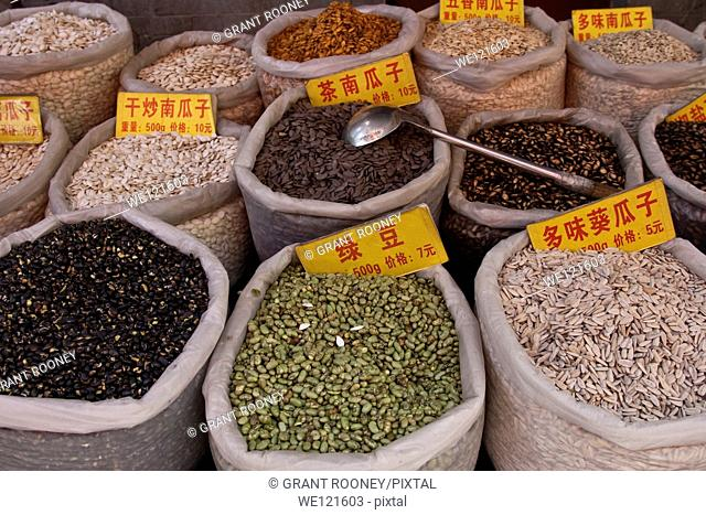 Beans and Pulses for Sale, Street Market, Xi'an, China