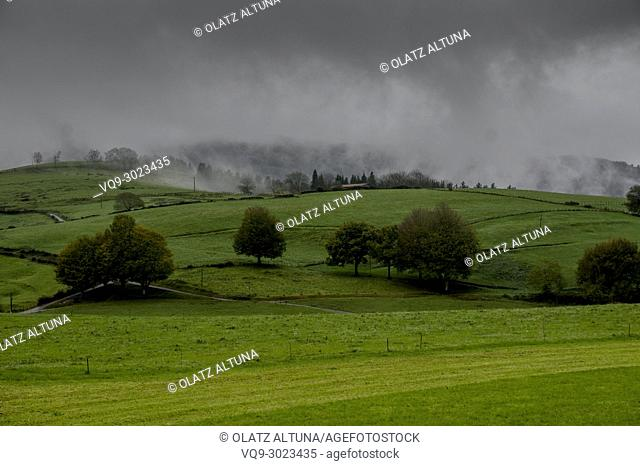 Country side view on to misty day with green grass, Oñatz, Azpeitia, Gipuzkoa, Basque Country, Spain