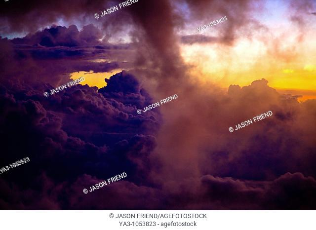 Sabah Malaysia, Borneo, Kinabalu National Park  Dramatic cloud formations viewed at sunset from Laban Rata on Mount Kinabalu - The highest mountain peak in...