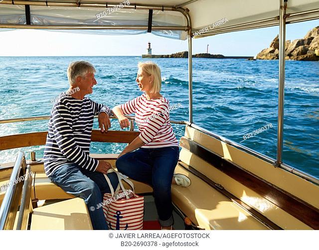 Senior couple, 60-70, Sailing Boat, Port of Pasajes, Pasaia, Gipuzkoa, Basque Country, Spain, Europe