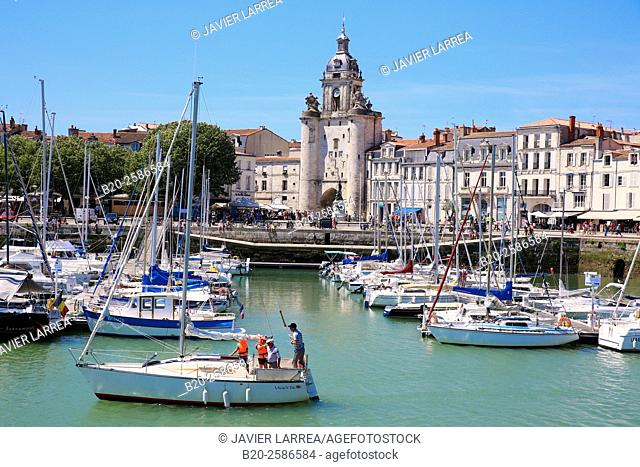 The Great Clock Tower by the harbour. La Rochelle. Poitou. Charente-Maritime. France