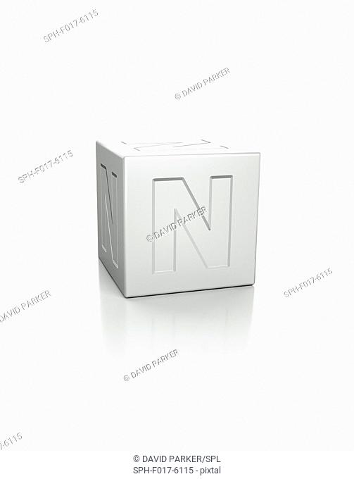 Cube with the letter N embossed