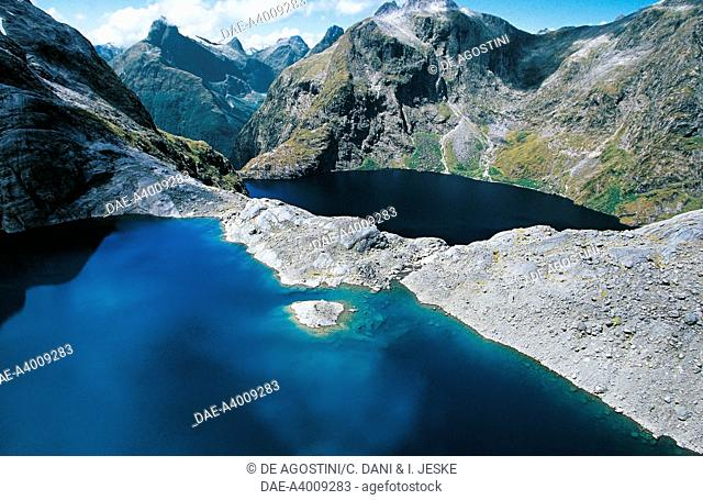 Upper and Lower Lake Quill, Fiordland National Park, Te Wahipounamu (UNESCO World Heritage List, 1990), South Island, New Zealand