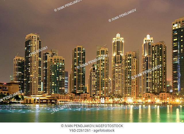 Dubai Downtown at Night, United Arab Emirates