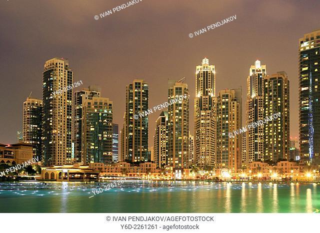 Dubai Downtown at Night, United Arab Emirates