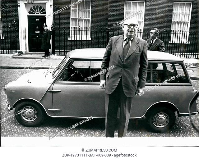 Nov. 11, 1973 - Geoffrey Rippon tries out experimental electric mini traveler for a project to Downing Street; Geoffrey Rippon