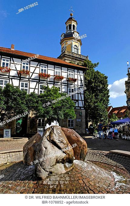 Market square fountain, Rinteln, Lower Saxony, Germany, Europe