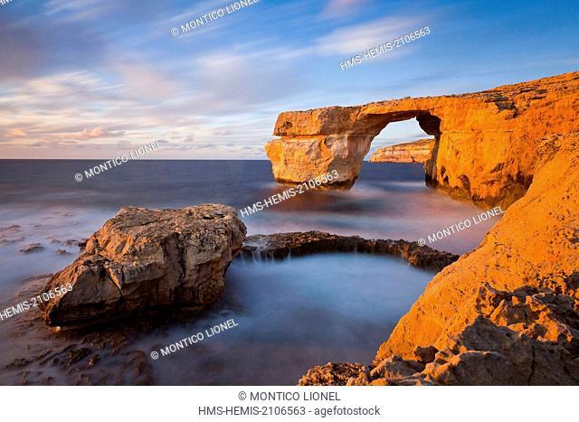Malta, Gozo island, the natural arch of Azure Window
