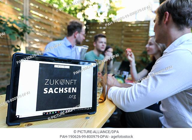 "24 June 2019, Saxony, Leipzig: Members of the group """"Future Saxony"""" discuss each other. The group wants to prevent the AfD from participating in the..."