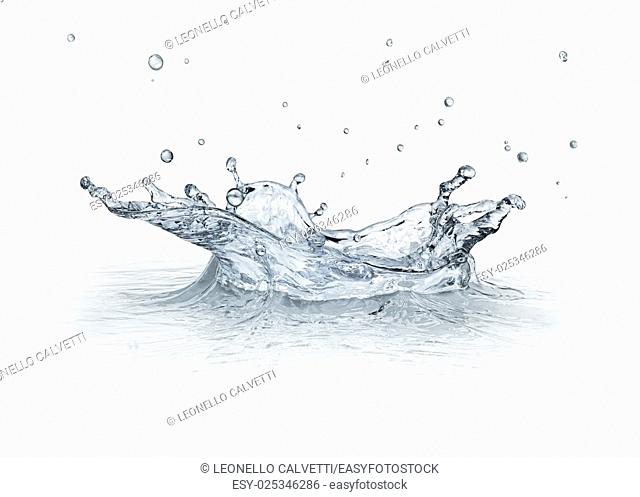 Water Splash isolated on white background, with some drops flying. . CGI image