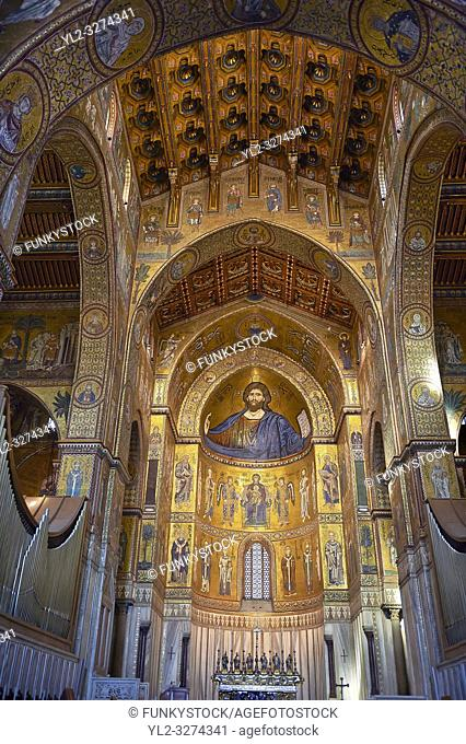 Christ Pantocrator mosaics of the Norman-Byzantine medieval cathedral of Monreale, province of Palermo, Sicily, Italy