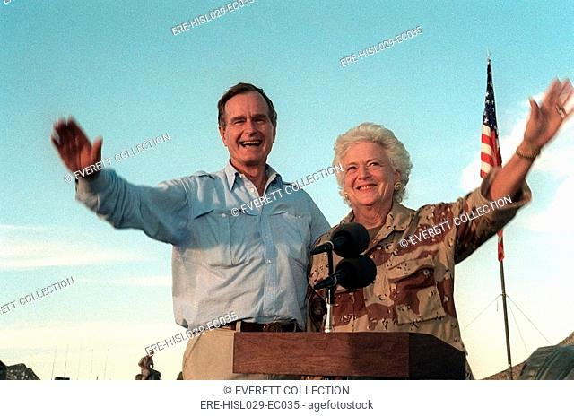President George Bush and Barbara Bush wave to US troops based in Saudi Arabia preparing for the military operations to oust Iraq invaders from Kuwait