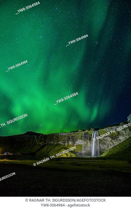Aurora Borealis, Seljalandsfoss, Iceland