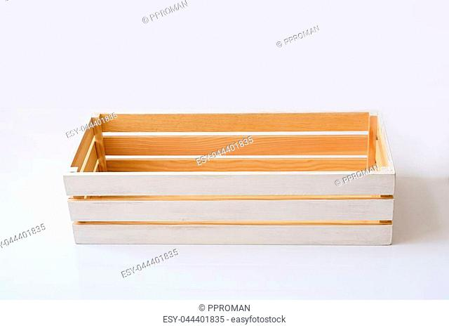empty wood box on a white background