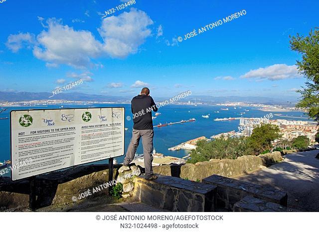 Gibraltar: Gibraltar town foreground with bay of Algeciras. Spain background. UK