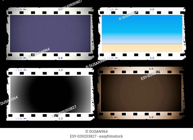 Set old blank film strip isolated on black background