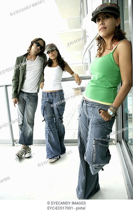 Three models strike a posing