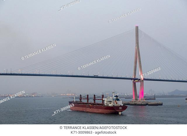 The Incheon Bridge at dusk, South Korea, Asia