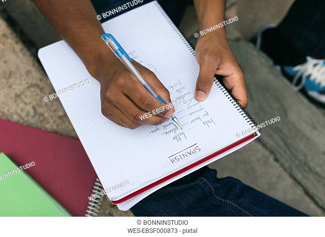 Young Afro-american man studying language