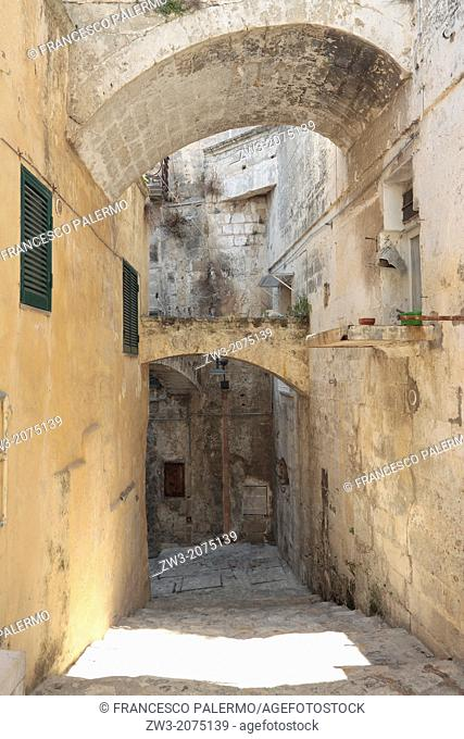 View of the typical sassi street, Mediterranean area. Matera, Basilicata, Italy