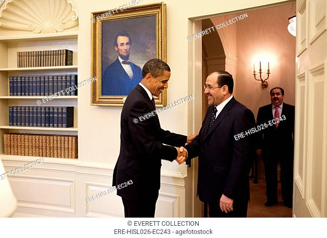 President Obama greets Iraqi Prime Minister Maliki in the Oval Office on July 22 2009. BSWH-2011-8-244