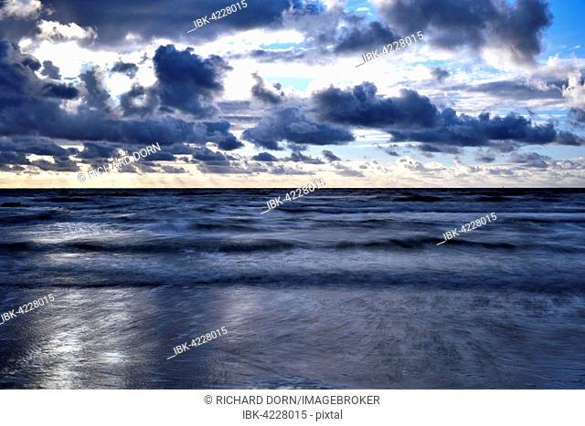 North Sea at dusk with clouds, Texel, West Frisian Islands, Province of North Holland, The Netherlands