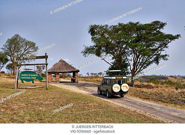 entrance gate Ishasha Sector, Queen Elizabeth National Park, Uganda, Africa - Uganda, 16/02/2015