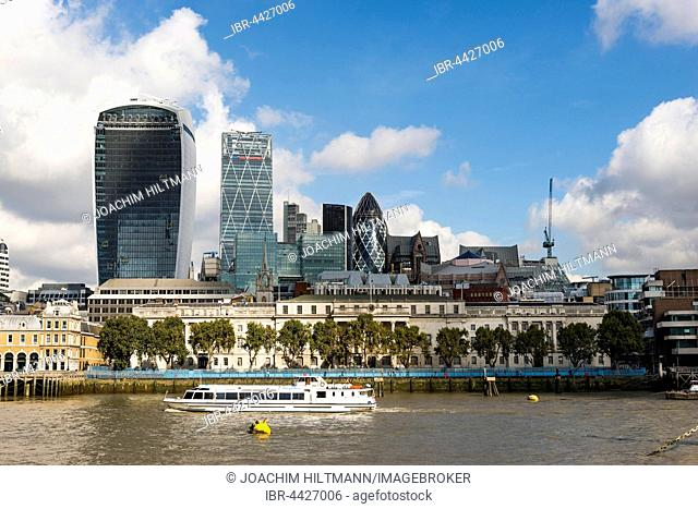 Skyline with 20 Fenchurch Street, The Walkie-Talkie, The Pint, The Leadenhall Building, The Cheese Grater, 30 St Mary Axe, The Gherkin, Thames, London, England