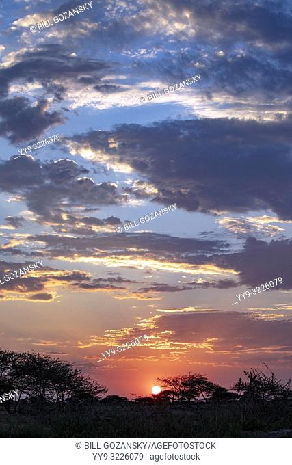 Sunset from Onkolo Hide, Onguma Game Reserve, Namibia, Africa