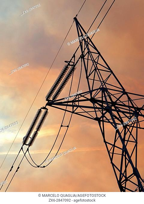 High voltage tower detail. Villandás village countryside. Grado council. Asturias autonomous community. Spain