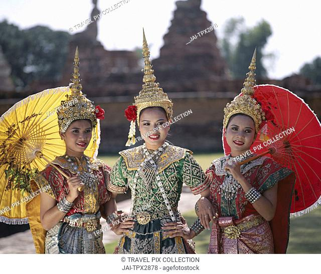 Girls Dressed in Traditional Dancing Costume, Bangkok, Thailand