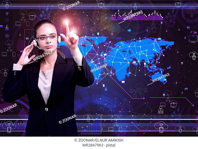 Woman in social data management concept