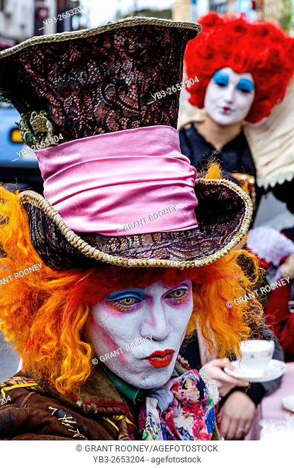 'The Mad Hatters Tea Party' Street Performers, Camden Sunday Market, Camden Town, London, UK