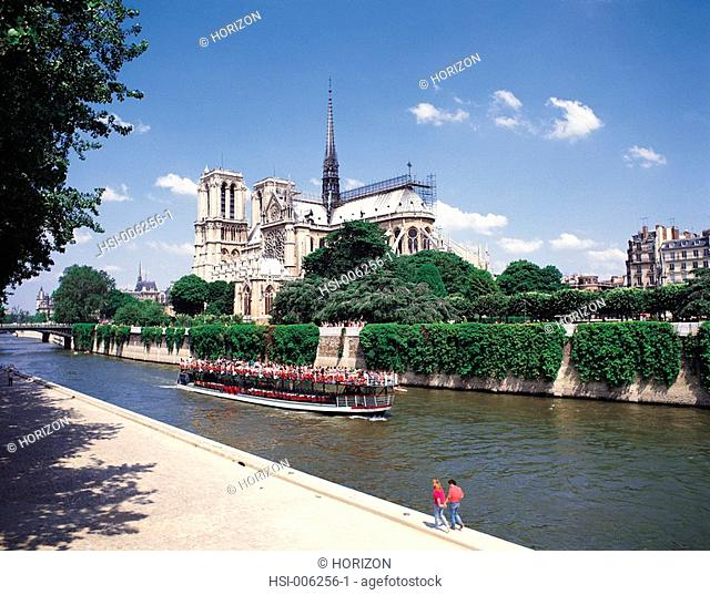 France, Paris, Notre Dame Cathedral, River Seine, Tourist boat