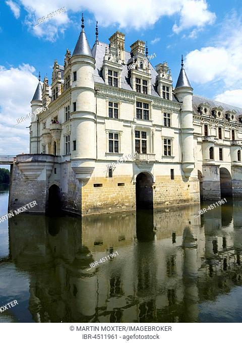 Castle Chenonceau on the Cher, the Château de Chenonceau, Department Chenonceaux, Indre-et-Loire, Center Region, France