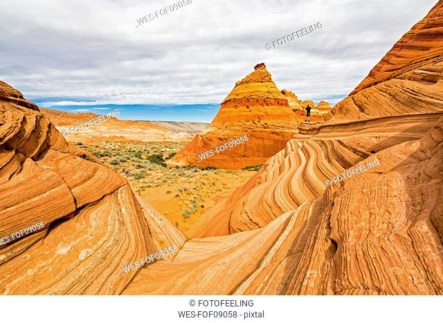 USA, Arizona, Page, Paria Canyon, Vermillion Cliffs Wilderness, Coyote Buttes, red stone pyramids and buttes