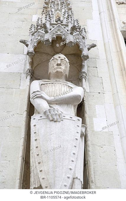 Gothic carvings on the Stadhuis, City Hall, Burg square, Bruges, Brugge, Belgium
