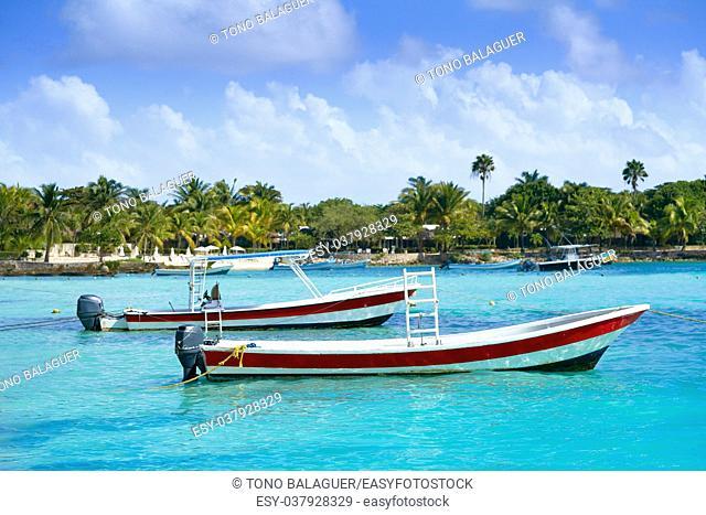 Akumal bay Caribbean beach boats in Riviera Maya of Mayan Mexico